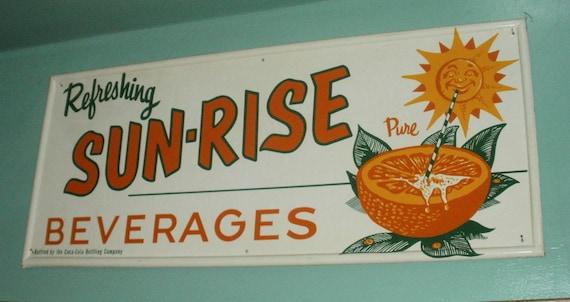 Sun Rise Beverages Self Framed Tin Advertising Sign Coca Cola Bottling Co