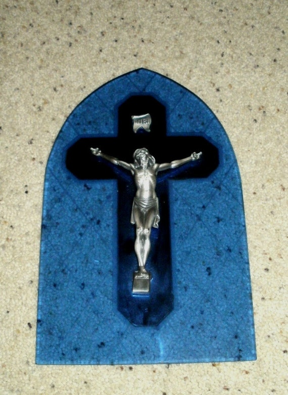 Vintage Crucifix Cross with Blue Glass and Mirror