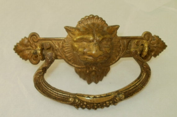 Lion Head Brass Antique Drawer Pull from Turn of the Century
