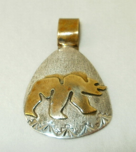 Signed Rosita Jake Native American Indian Artist Pendant Sterling Silver and Gold Filled Navajo Tribe