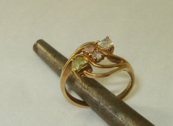 10K PC Gold Ring 4 Color Stones Size 8