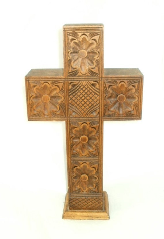 Large Wooden Carved Cross Crucifix Religious Decoration