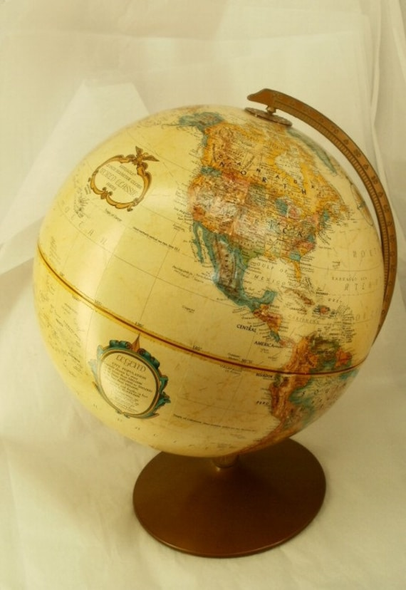 "Vintage 12"" Replogle World Classic Series Globe on Metal Stand"