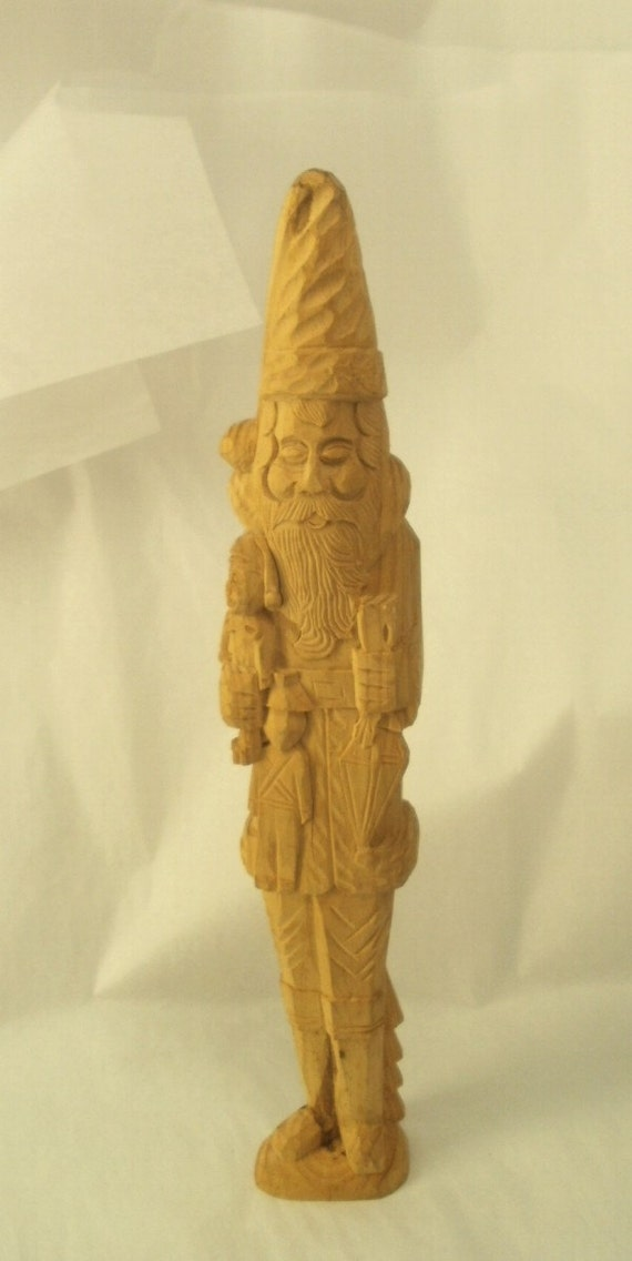 Hand Carved Wood Santa St Nick figure with Toys