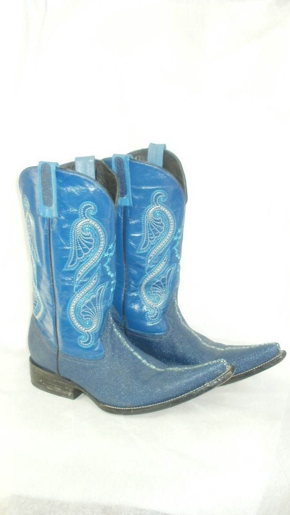 Vintage Blue Leather Cowboy Boots Lots of Detailed Embroidery Women's