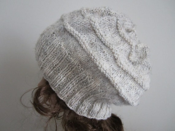 Hand Knit Natural Slouchy Hat - Wheat Hat - Winter Accessories - Winter Fashion - Handknit Palette