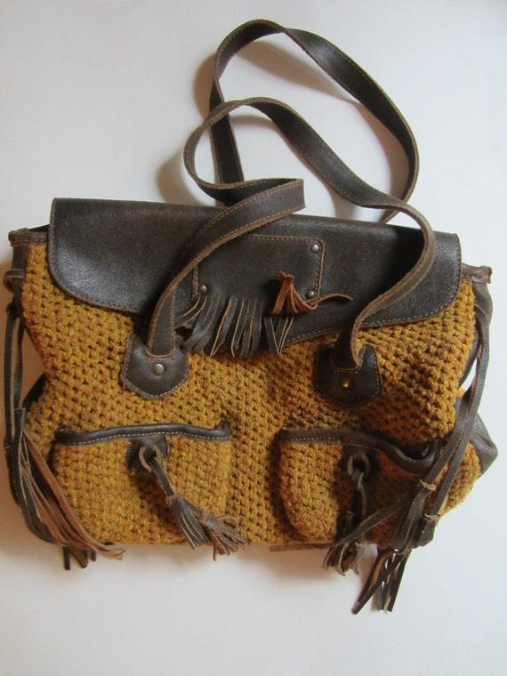 Vintage Italian Slouch Handbag in Mustard - Bonfanti Bag - Virgin Wool with Brown Leather Trim and Tassels - Bohemian Style Bag