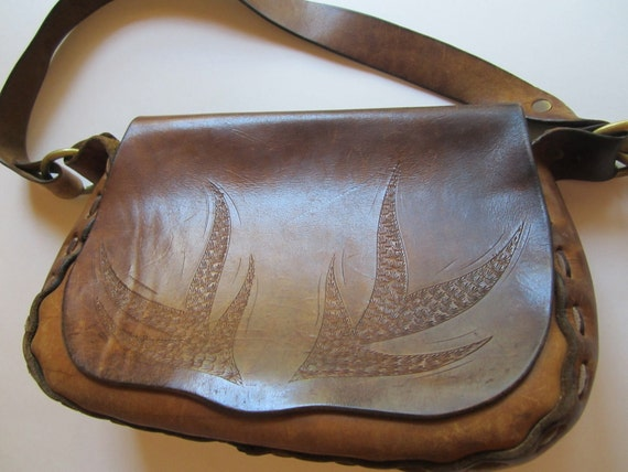 Vintage 1960s Large Hand Tooled Leather Bag - Boho Shoulder Bag - Aloe Plant Design - Unisex Bag