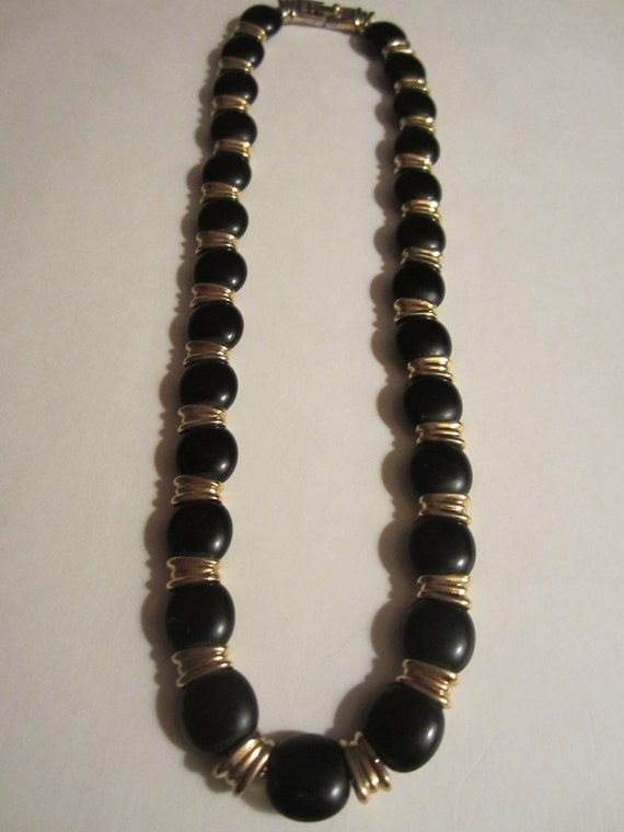 Vintage Monet Necklace - Black and Gold - Designer Jewelry - Womens Fashion - Womens Accessory