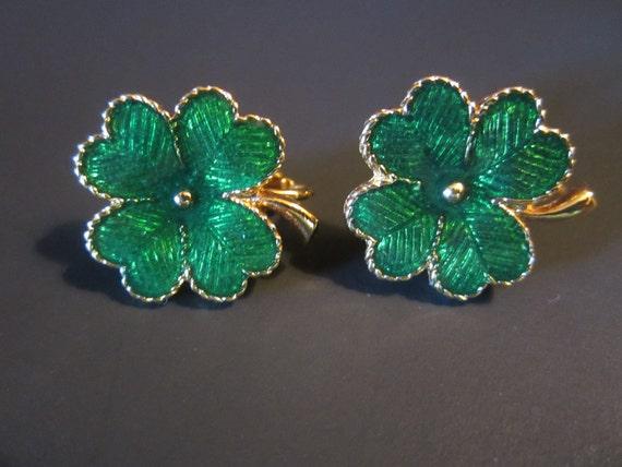 Vintage Avon Enamel Earrings - Green Four Leaf Clovers - Gilt Gold Clip Style Earrings - Womens Fashion Accessory - Womens Jewelry