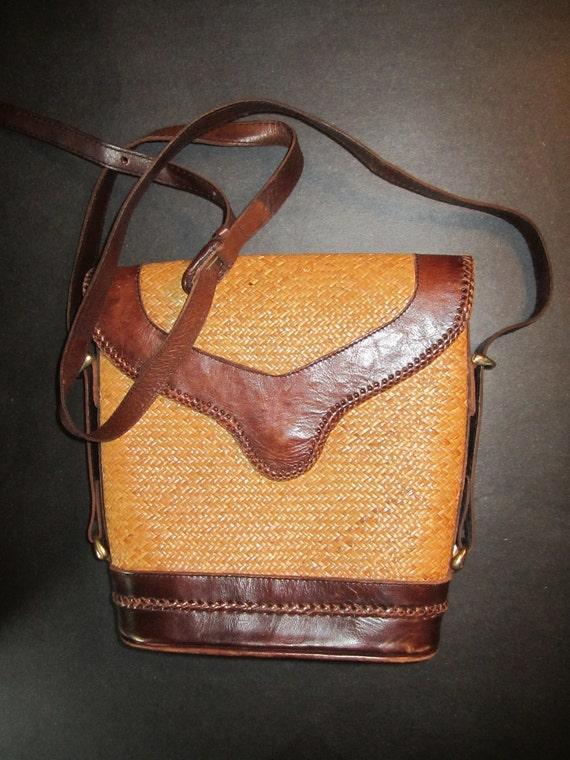 Vintage Ethnic Straw Bag with Leather Trim - Vintage Talbots Shoulder Bag - Bohemian Accessory