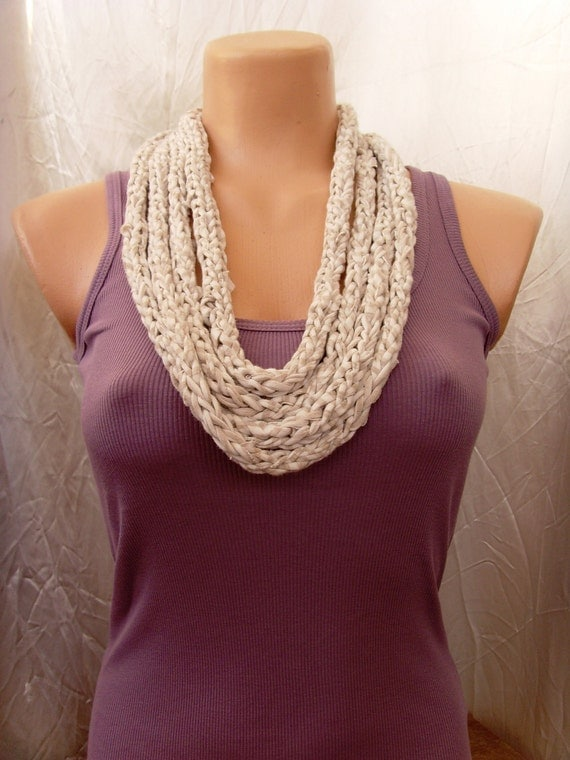 Upcycled, Recycled eco-friendly crochet t-shirt necklace, Beige, White scarf, neck wrap Ready To Ship