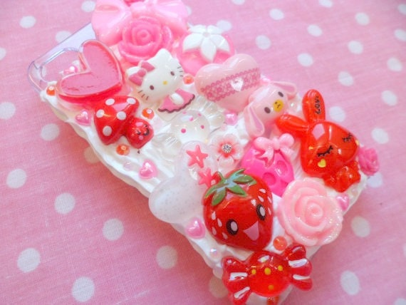 Kawaii Decoden Whipped Cream Red and Pink Flower Strawberry Candy iPhone 4 Cell Phone Case
