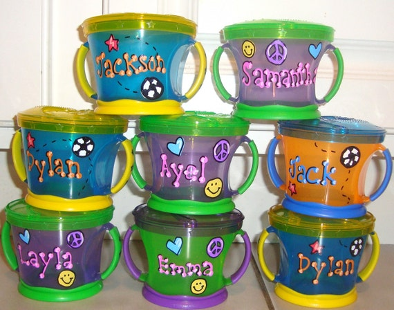 Baby toddler personalized snack trap snack cup birthday favors gift feeding