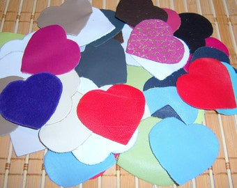 50 PIECES leather hearts mix colors for sewing jewelry scrapbooking