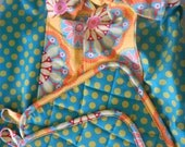 Polka Dot 50's Style Retro Apron and Pot Holder Set