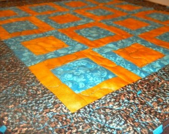 Squares in Squares Table Topper / Wall Hanging / Mini Quilt