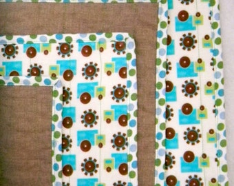 Linen Baby / Toddler Quilt (Blue Green Trucks)