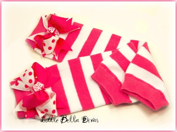 Hot Pink and White Stripe Leg Warmers with Bows