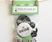 Bride and Groom Button Set - Sea Foam Green