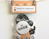Bride and Groom Button Set - Peach
