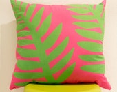 Pink and Green Leaf Decorative Pillow 18inch