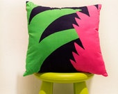 Black, Pink and Green Leaf Detail Decorative Pillow 16inch