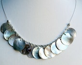 Statement necklace - shell necklace - rustic necklace - shell disc necklace - beach necklace - shimmery necklace - pearly necklace