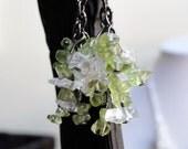 Peridot earrings - bunch of grapes - green drop earrings - rock quartz earrings - cluster earrings - genuine peridot - olive earrings