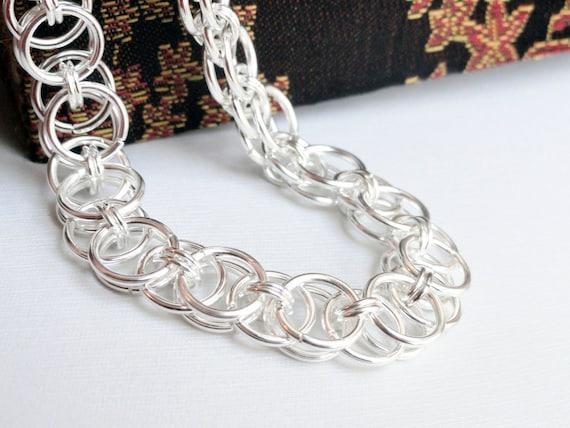 Chainmaille bracelet - helm bracelet - silver chainmaille - flower bracelet - medieval bracelet - chainmail bracelet