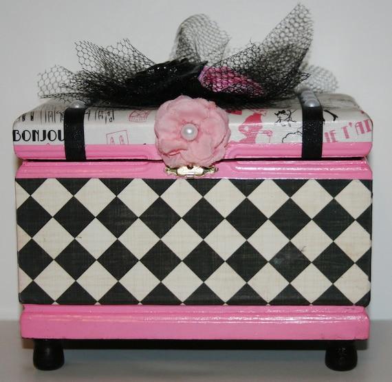 BOX PARIS pink victorian decoupaged rose  CIGAR storage
