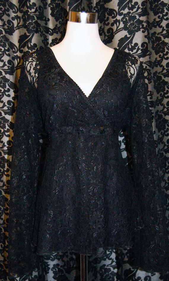 Classic Black Lace Womans Top, Size Large