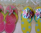 Altered Art Beach Sign of Flip Flops with Recycled Buttons and Fabric Yoyos
