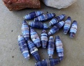 Rocky Mountain Sky--Paper Beads of Deep Blue, Sky Blue, Creamy Taupe --lot of 15