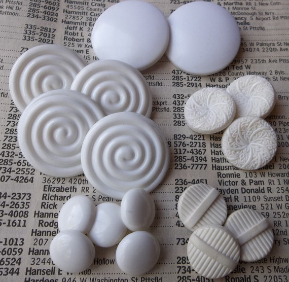 NOS Assorted White Plastic Shank Vintage Buttons--lot of 17