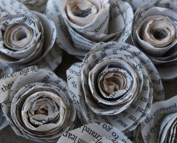 Paper Roses Made From Pages of a Vintage Novel--lot of 12