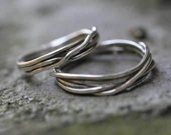 Fit to be tied wedding band set (2 rings) in Sterling Silver