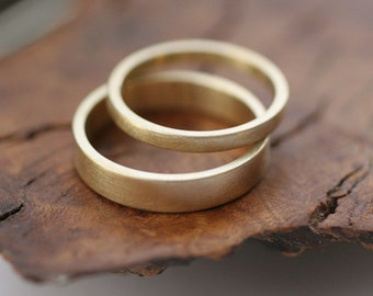 14k gold flat wedding band set - satin finish (2 rings)