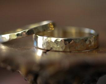 hammered flat band wedding set 14k  (2 rings)