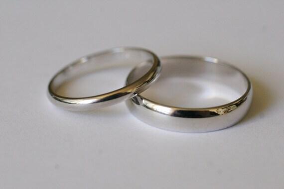 10k white gold half round wedding band set 2 rings