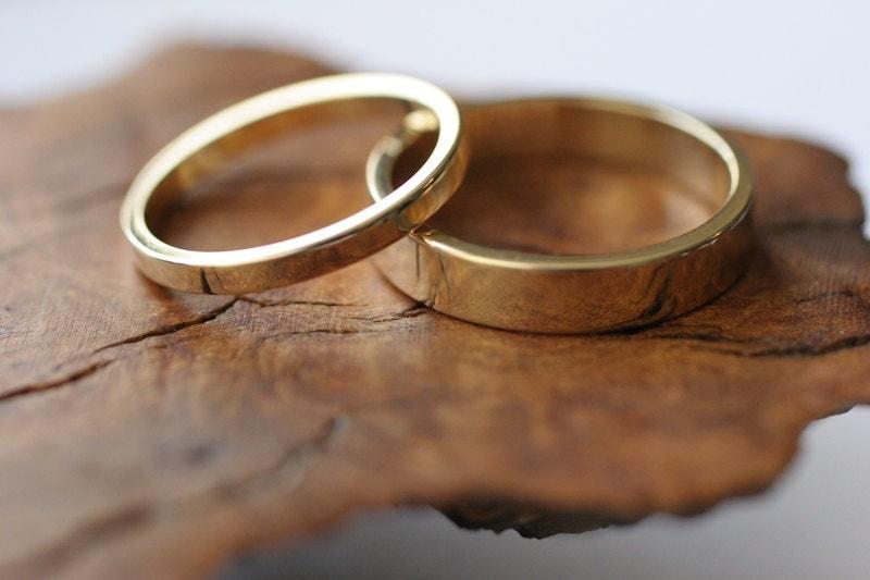 14k Yellow Gold Flat Band Wedding Ring Set 2 Rings