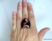 Wire Ring Black Red  Broken Heart Glitter Glass Tile