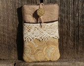 iphone Case/iphone Cover/Pouch/Leatherette/antique button/Recycled LACE