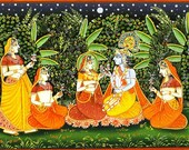 Handmade Traditional Indian Art Print - Krishna with gopis (18 x 24 inches)