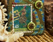 Mermaid Mail hand embroidered pin, rustic, seaweed, kelp,raw sienna, green, teal blue, art squared