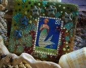 Mermaid Kinda Love...Mermaid Mail minature quilt. wall hanging, art quilt , poem, teal, seagreen, beach cottage, altered art, ACEO, ATC