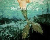 Seaweed crown, Baby boy merman... Mermaid art card with poem