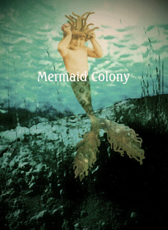 Seaweed crown, Baby boy merman... Mermaid art card with poem