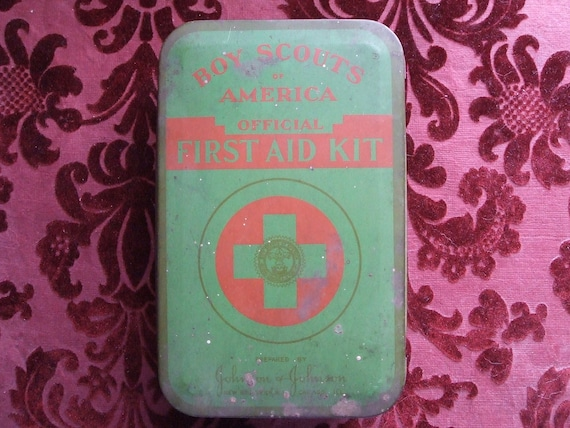 Old Boy Scout First Aid Kit Tin Great Shape