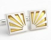 Victoria Varga Rising Sun cuff links / 3298 gold leaf